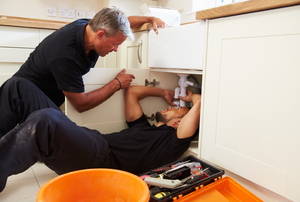 Two men working beneath a kitchen sink
