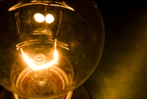 close up of a dimly lit light bulb