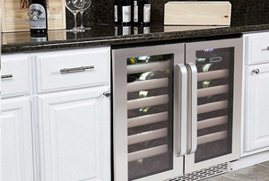 kitchen with a built-in wine cooler