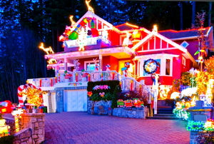 A house covered in Christmas lights.