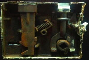 The inner workings of an antique lock.