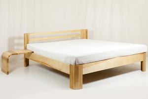 A wood bed frame.