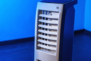free standing air conditioner in blue room