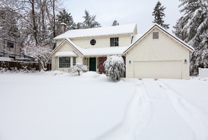 A snow covered home