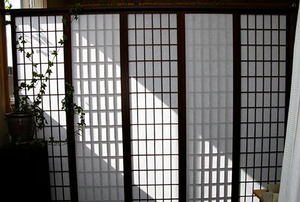 A Shoji screen with five panels dividing a room.
