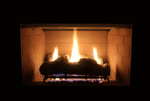 fire burning in a gas fireplace