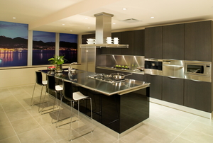 A modern kitchen condo apartment.