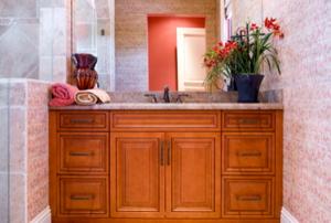 dark bathroom floor cabinets