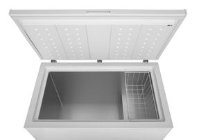 deep chest freezer with lid open