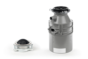 The pieces of a garbage disposal unit isolated on a white background.