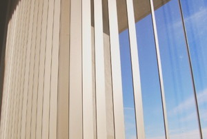 vertical blinds with blue sky in the background