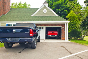 A home with garage doors.