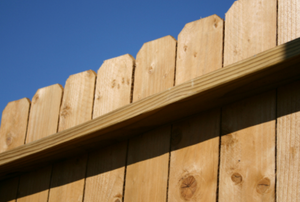 a stretch of wood fencing
