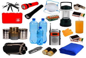 Various emergency supplies against a white background.