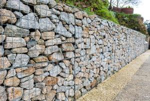 A gabion retaining wall.