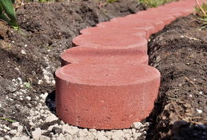 Red edging paver stones