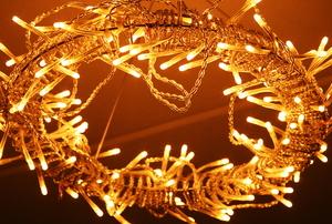 dim led string lights on a circular light fixture