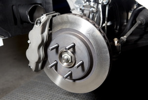 A close-up of brakes on a car.