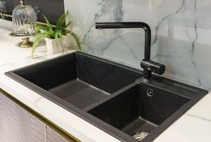 black two-sided kitchen sink