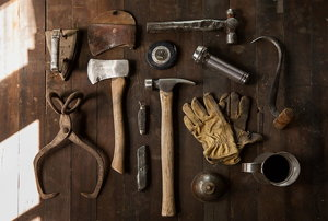 tools against a wood background