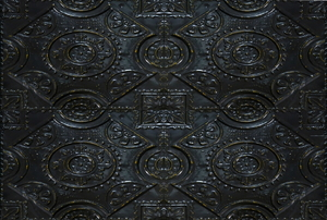 Ornate, black metal tiles.