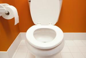 A toilet in an orange bathroom.