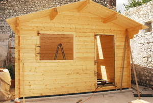A shed in the construction process.