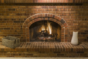 A brick fireplace.