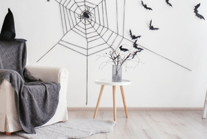 halloween decorations in a living room
