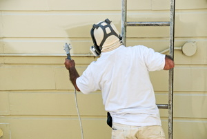 Person painting vinyl siding