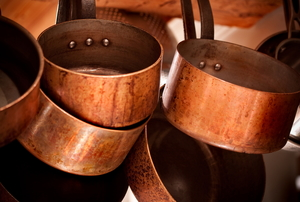 Copper pots and pans.