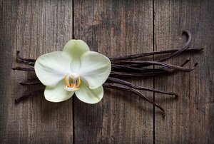 An orchid flower arranged over vanilla beans against a wood background.