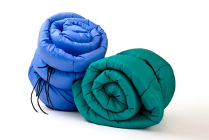 Sleeping bags on a white background.
