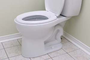 A white, porcelain toilet in the corner of a bathroom.