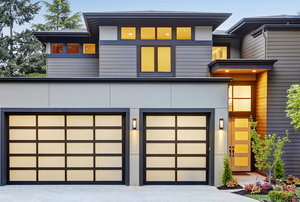 A home with a garage.