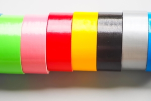 a line of colorful rolls of duct tape