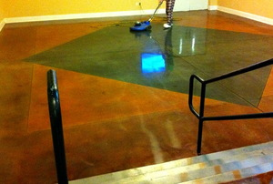 A highly reflective, polished concrete floor.