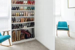 A room with a shoe cabinet.