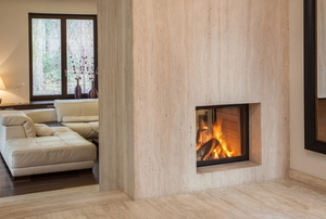 A wall fireplace.