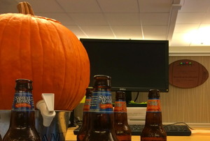A pumpkin keg at an office party.