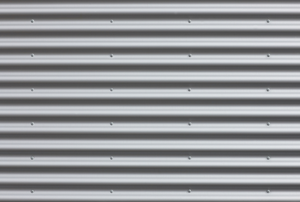 a wall of aluminum siding