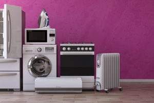 kitchen appliances on a purple background