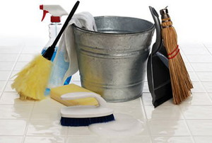 A collection of cleaning supplies including a metal bucks, duster, and dust pan.