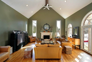 A family room with a vaulted ceiling.