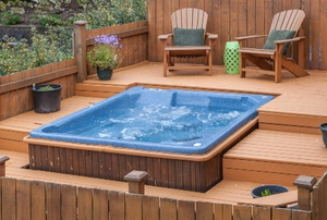 deck with built in hot tub