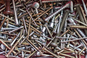 A pile of nails and screws.