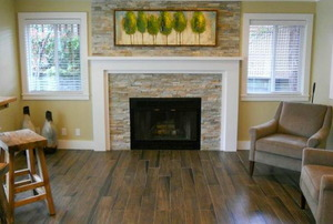 A living room with wood grain tile.