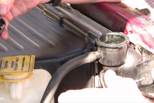 Person holding a radiator cap near opening to the radiator.