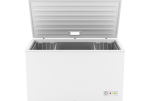 a white chest freezer with the lid open