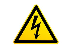 A yellow and black warning size for high voltage.